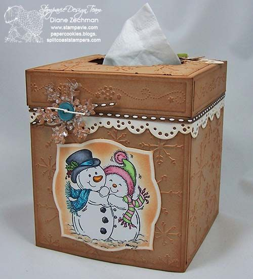 Tissue box cover with template by Diane Zechman