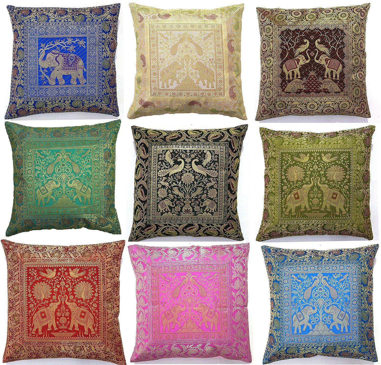 10 Pc Lot Square Silk Home Decor Cushion Cover Indian Silk Brocade Pillow Cover Handmade Banarsi Pillow Co Silk Pillow Cover Cushions On Sofa Indian Pillows