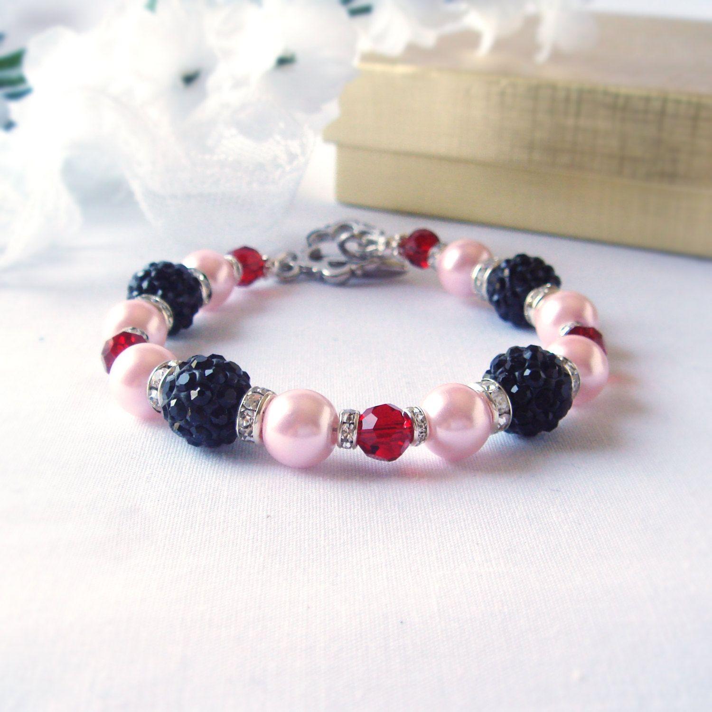 Big Black Shambala Beads  with Pink Pearls and RubyBicone Bracelet