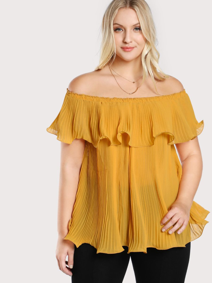 0f8a2c71e403e Shop Off Shoulder Pleated Flowy Top online. SheIn offers Off Shoulder  Pleated Flowy Top   more to fit your fashionable needs.