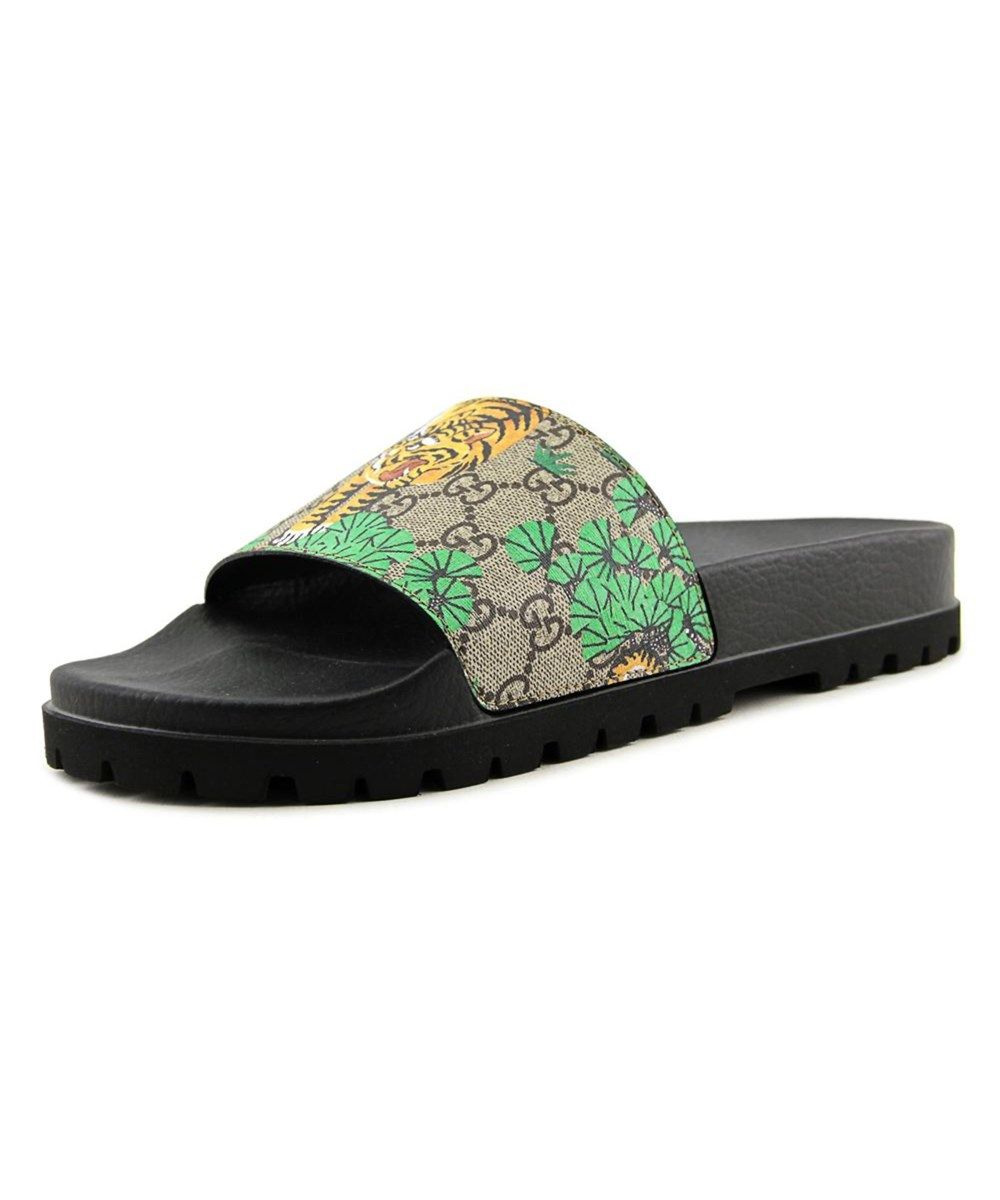 11fcddff9e8ebf GUCCI Gucci Bengal Men Open Toe Synthetic Green Slides Sandal .  gucci   shoes  sandals