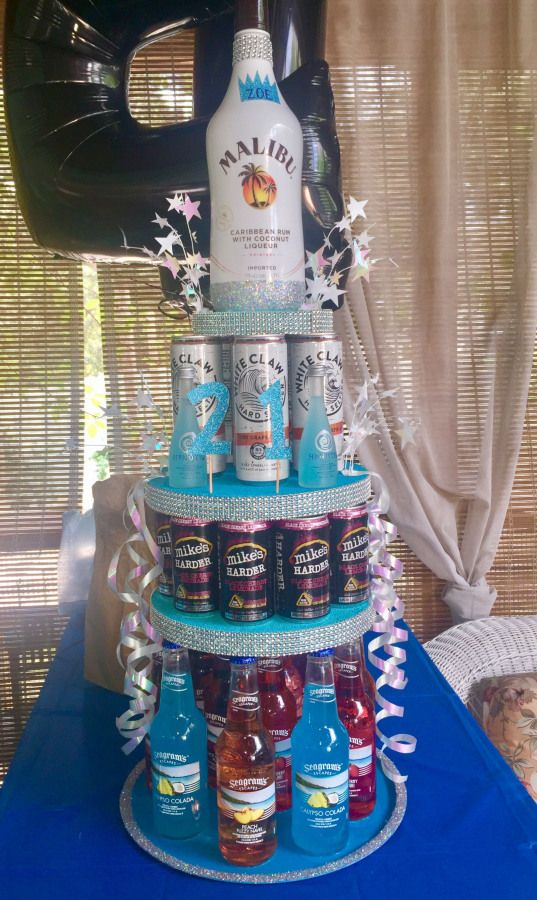 21st birthday beer cake for my best friend!! tags: 21 birthday beer cake alcohol girly friends cake party #21stbirthday #21st #birthday #best #friend #21stbirthdaydecorations