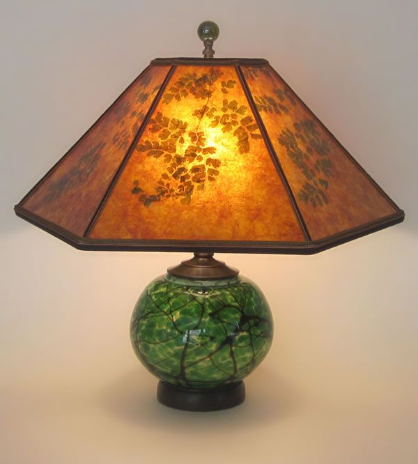 Hand Blown Green Glass Lamp With Lighted Base Mica Lamp Shade With Green Maidenhair Fern Glass Lamp Art Glass Table Lamp Custom Lamp Shades