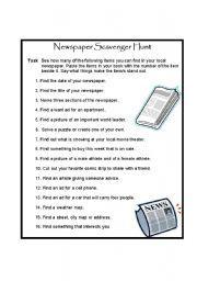 english worksheet newspaper scavenger hunt english worksheets newspaper vocabulary worksheets. Black Bedroom Furniture Sets. Home Design Ideas