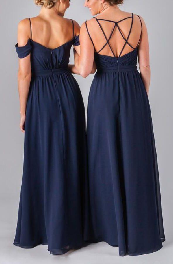 chiffon bridesmaid dresses, long bridesmaid dresses,Navy bridesmaid dresses,Braces dress
