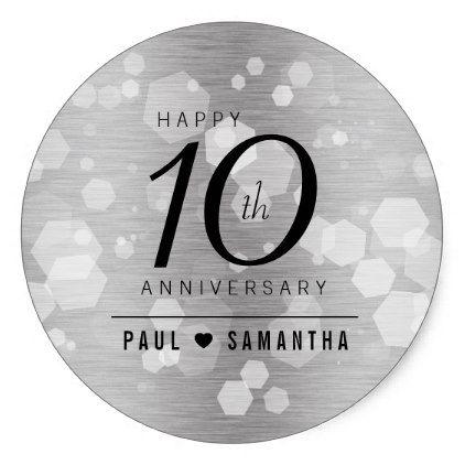 Elegant 10th Tin Wedding Anniversary Celebration Classic Round Sticker