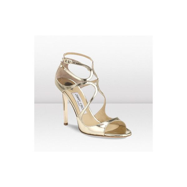 586cbde9c959 Jimmy Choo Lang Gold Mirror Leather Strappy Sandals ( 850 ...