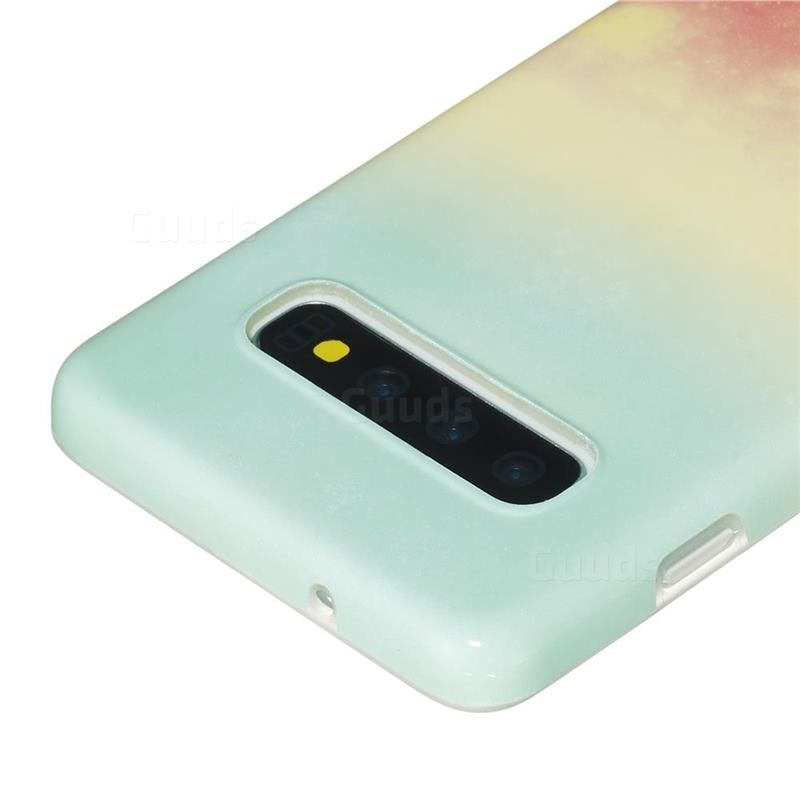 Sunset Glow Marble Clear Bumper Glossy Rubber Silicone Phone