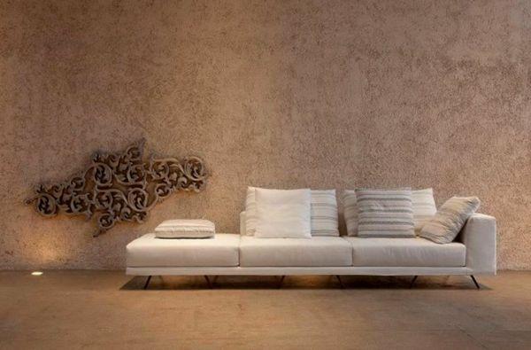 Tapeten Farben Ideen Braune Wand Und Sofa In