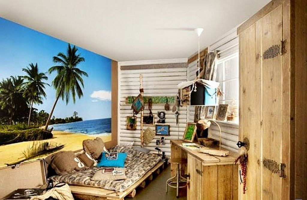 Teen Room Beach Themed Teenage Boys Bedroom With Big Beach - Teenage boys wallpaper designs
