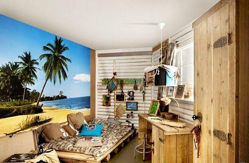Teen Room Beach Themed Teenage Boys Bedroom With Big Beach - Teenage boys wallpaper designs