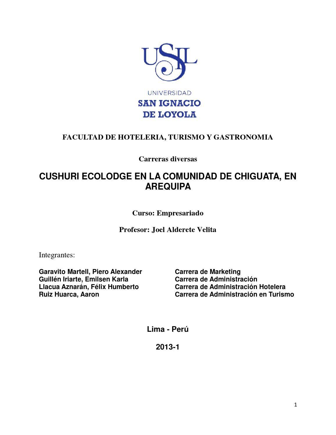 PROYECTO DE INVERSION - ECOLODGE TURISTICO EN AREQUIPA