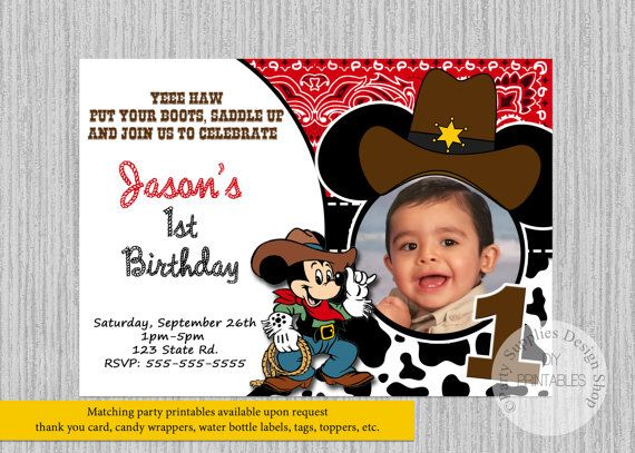 IMPRESA o Digital Cowboy Mickey Mouse por PartysuppliesDesign