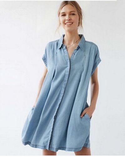 Blue shirt dress for women plain long shirts back tie design ...