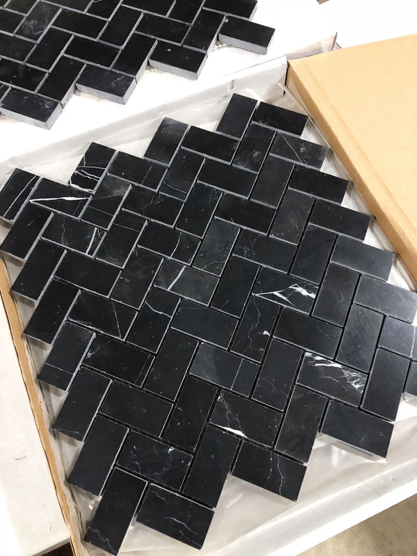 How Beautiful Is This Herringbone Mosaic In Black Nero Marquina