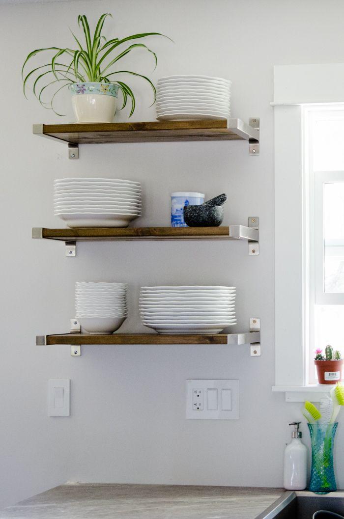 Diy Open Shelving For Our Kitchen Lemon Thistle Kitchen Wall Shelves Open Kitchen Shelves Ikea Shelves