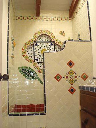 Floral Garden Mexican Tile Shower Talavera Tile With Sun