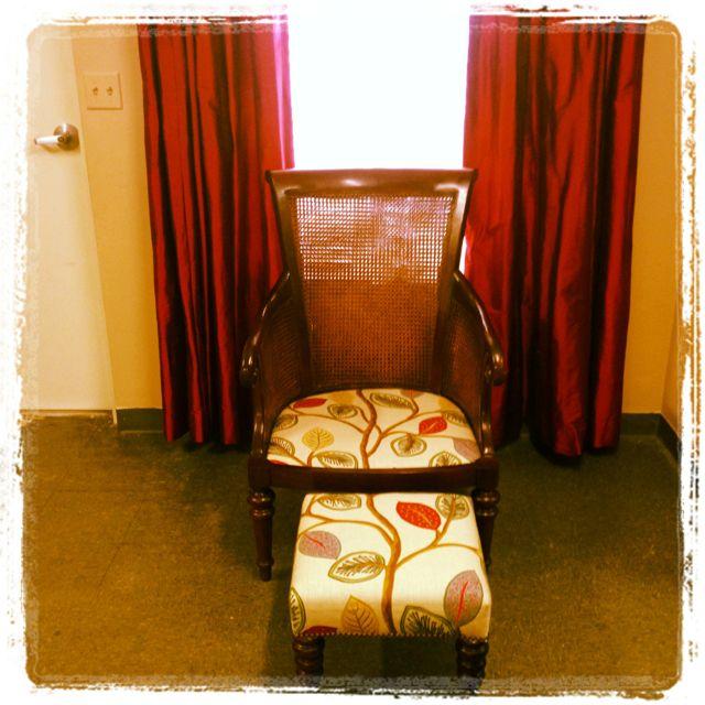 Reupholstered Custom Chair & Ottoman By Designer's