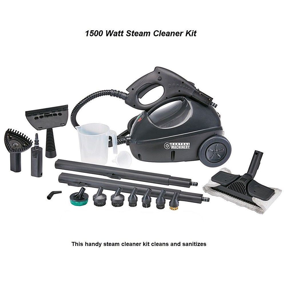 1500 Watt Steam Cleaner Kit Clean Dirt Grease Car Tires Floors New Centralmachinery Steam Cleaners Cleaning Kit Cleaners