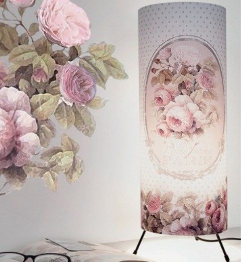 lampe colonne mille roses orval cr ations orval cr ations d coration r tro vintage romantique. Black Bedroom Furniture Sets. Home Design Ideas