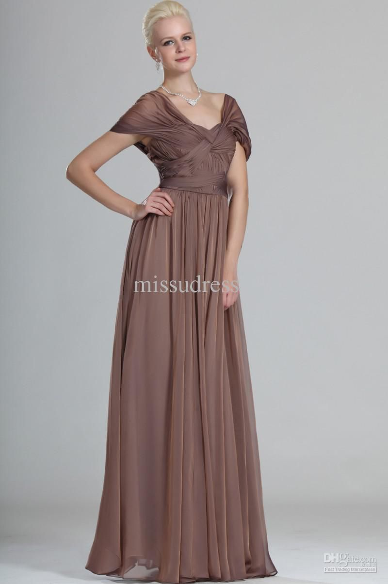 Champagne one shoulder rhinestone beaded satin chiffon graceful brown cap short sleeves ruched a line long elegant mother of the bride dress ombrellifo Images