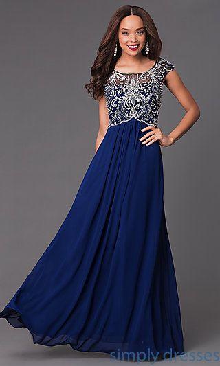 Long Jeweled-Bodice Cap-Sleeve Prom Dress | Pinterest | Formal prom ...