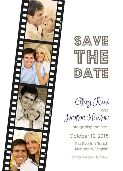 Save The Date Digital Print Color And Black White Photos Film Strip