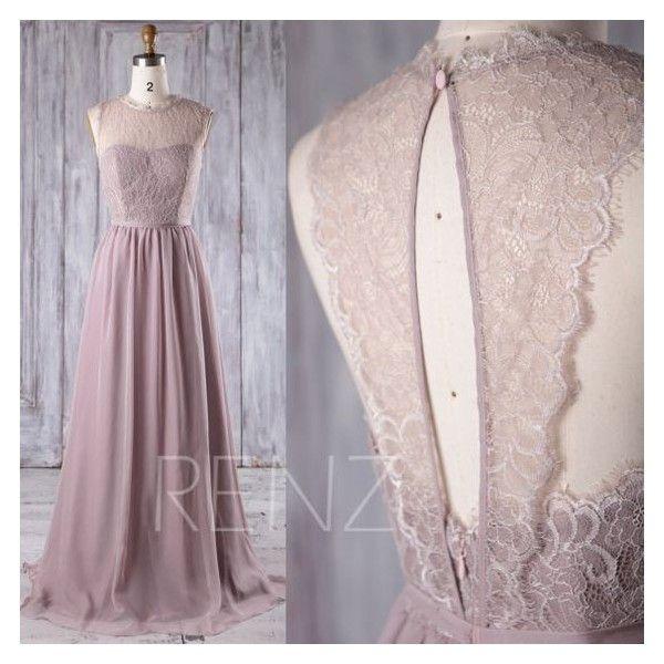 2017 Rose Gray Chiffon Lace Bridesmaid Dress, Key Hole Back Wedding... ❤ liked on Polyvore featuring dresses, gowns, lace gown, prom dresses, gray bridesmaid dresses, chiffon maxi dress and prom gowns