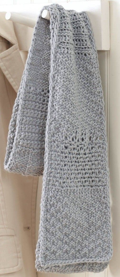 """Free Sampler Scarf Knook ePattern - This free downloadable pattern for this beautiful scarf lets you take advantage of the versatility of the Knook. The pattern alternates back and forth from using the Knook to knit a section and then to crochet a section. The pattern stitches featured include Knit Check, Crochet Openwork, Knit Diagonal Rib, Crochet Ridge, Knit Basketweave, Single Crochet, and Knit Pennants. The 5"""" x 57"""" scarf is made using medium weight yarn and a size I (5.5 mm) Knook."""