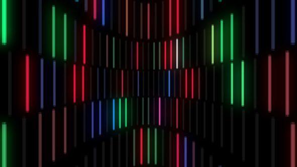 Colorful Neon Lamps Wall VJ Loop