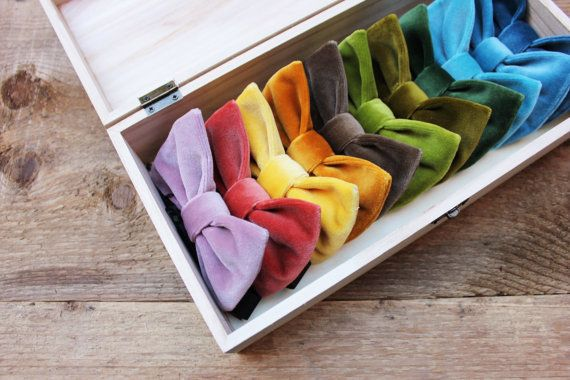 A veritable rainbow of vintage-velvet bow ties. #etsyfinds #etsygifts