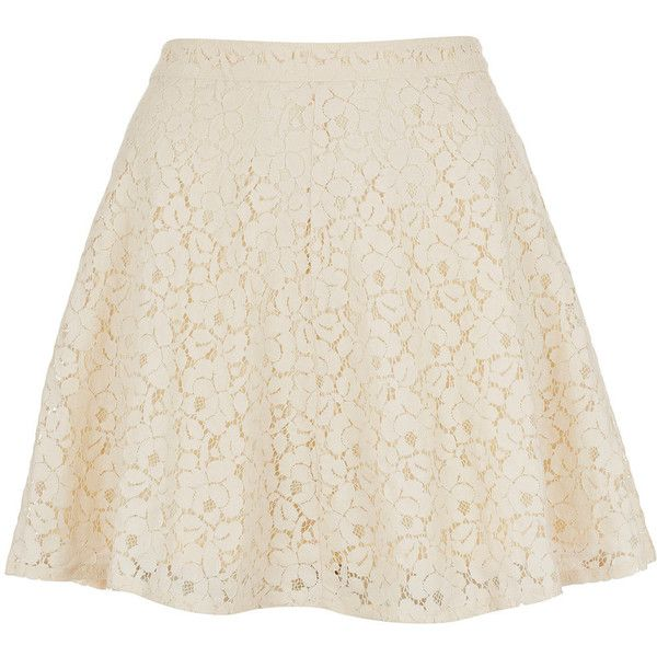 TOPSHOP Cream Lace Skater Skirt (4.000 HUF) ❤ liked on Polyvore featuring skirts, bottoms, saias, faldas, cream, knee length lace skirt, cream skater skirt, pink circle skirt, flared skirt and topshop