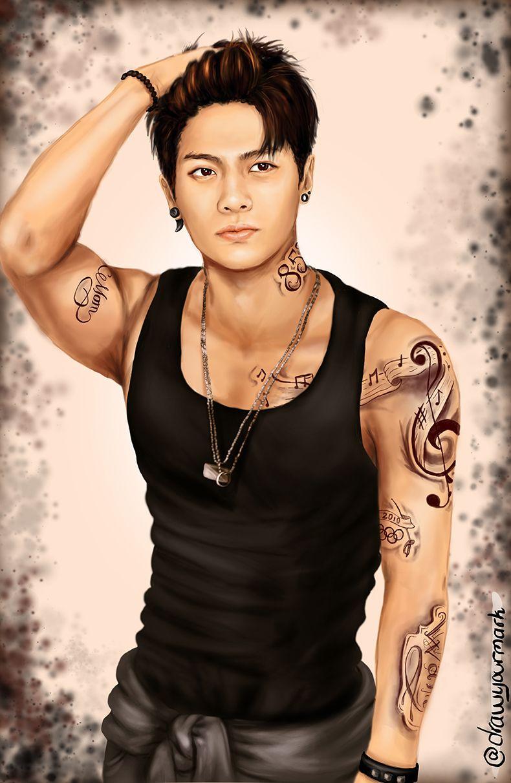tattooed got7 part 2/7- jackson wang (cr.http://drawyourmark.tumblr.com/)