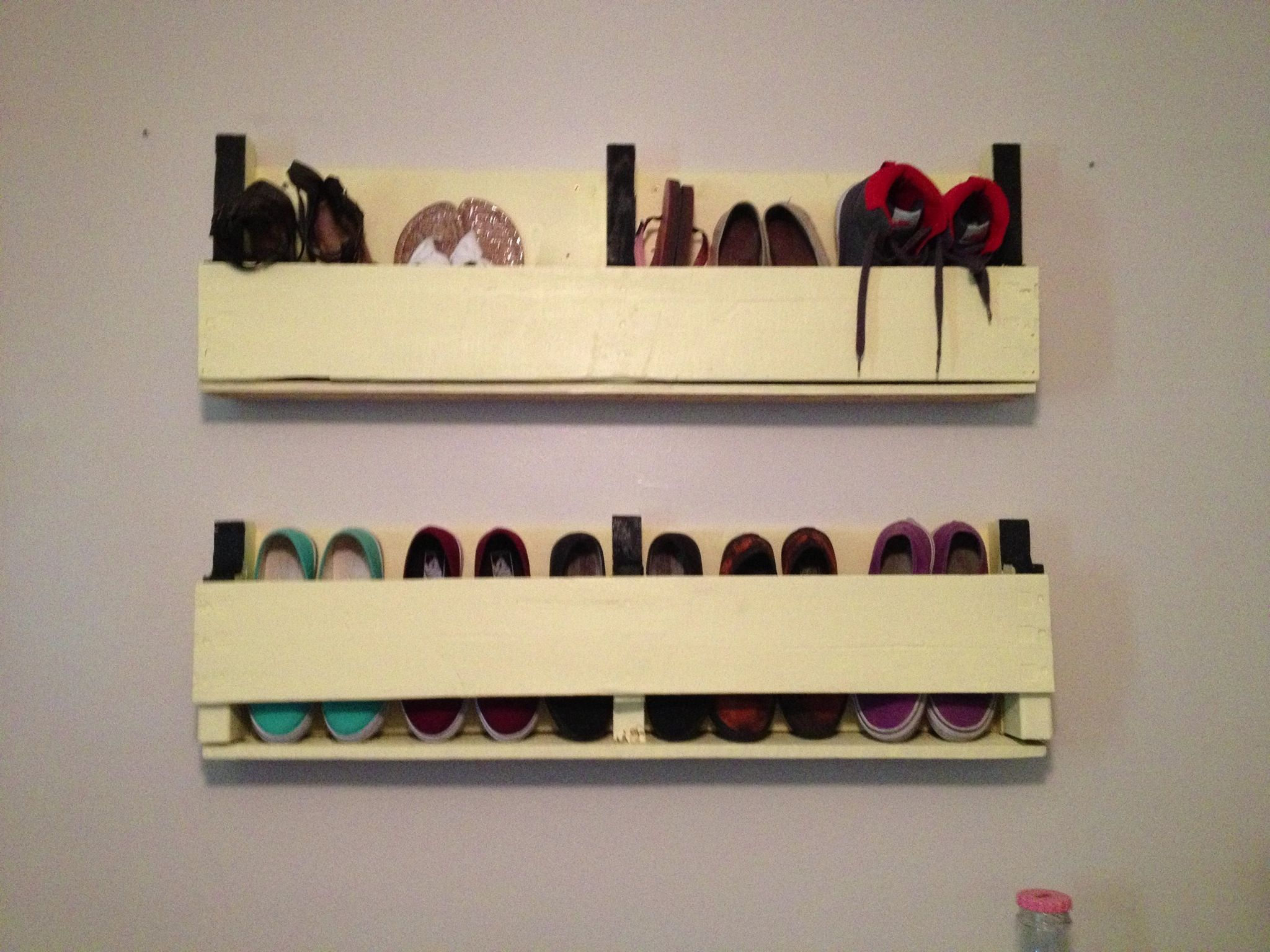 white wall mounted shoe rack More white