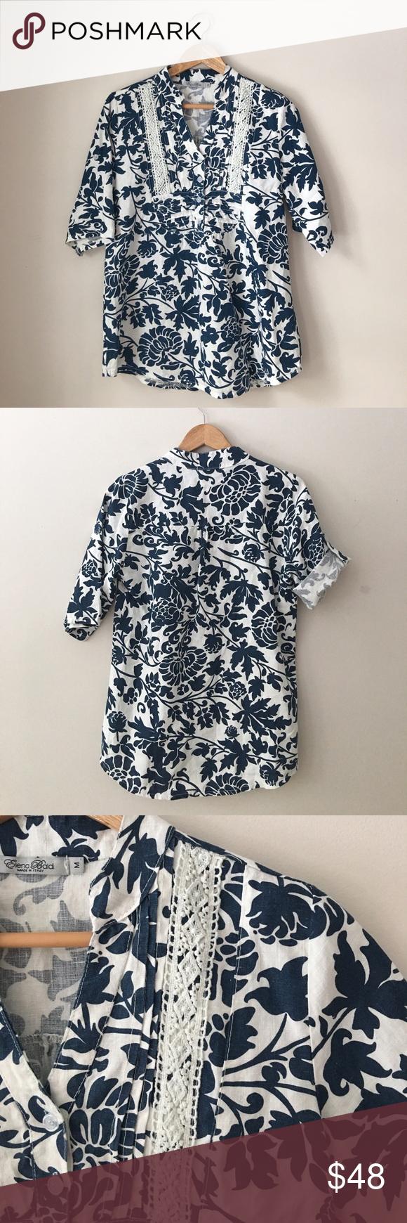 6eeb3a8f033cfd Elena Baldi Navy + White Linen Tunic Beautiful tropical Linen tunic in navy  + white by
