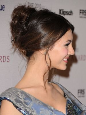 Try an elegant updo like Victoria Justice!