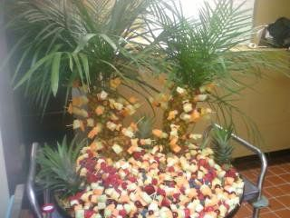 These fruit trees are easy to build.  Pineapples are the tree trunks.  They dress up any party.
