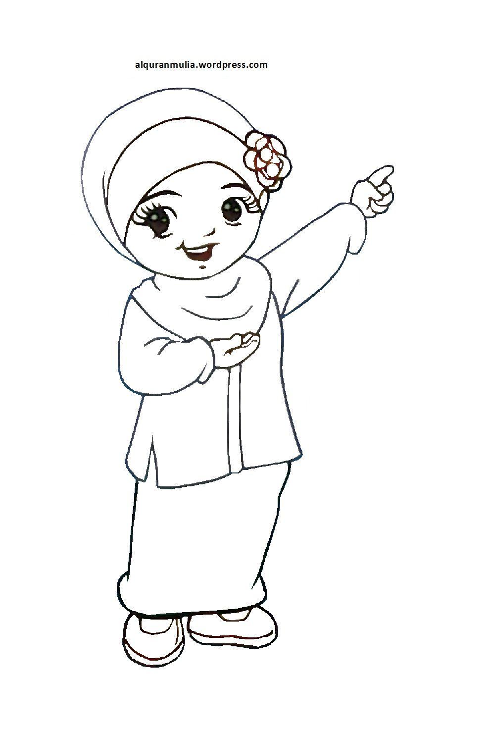 Mewarnai Gambar Kartun Anak Muslimah 18 Alqur U002639 Anmulia Cizim Islam Dikis