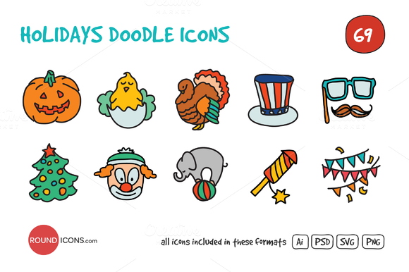 Holidays Doodle Icons Set by roundicons.com on @creativemarket