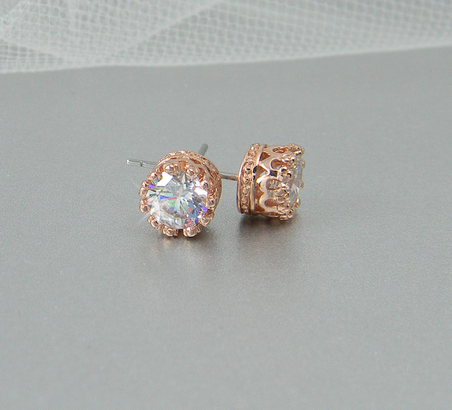 Rose Gold Stud Earrings Bridal Bridesmaids Jewelry Vintage Style Wedding