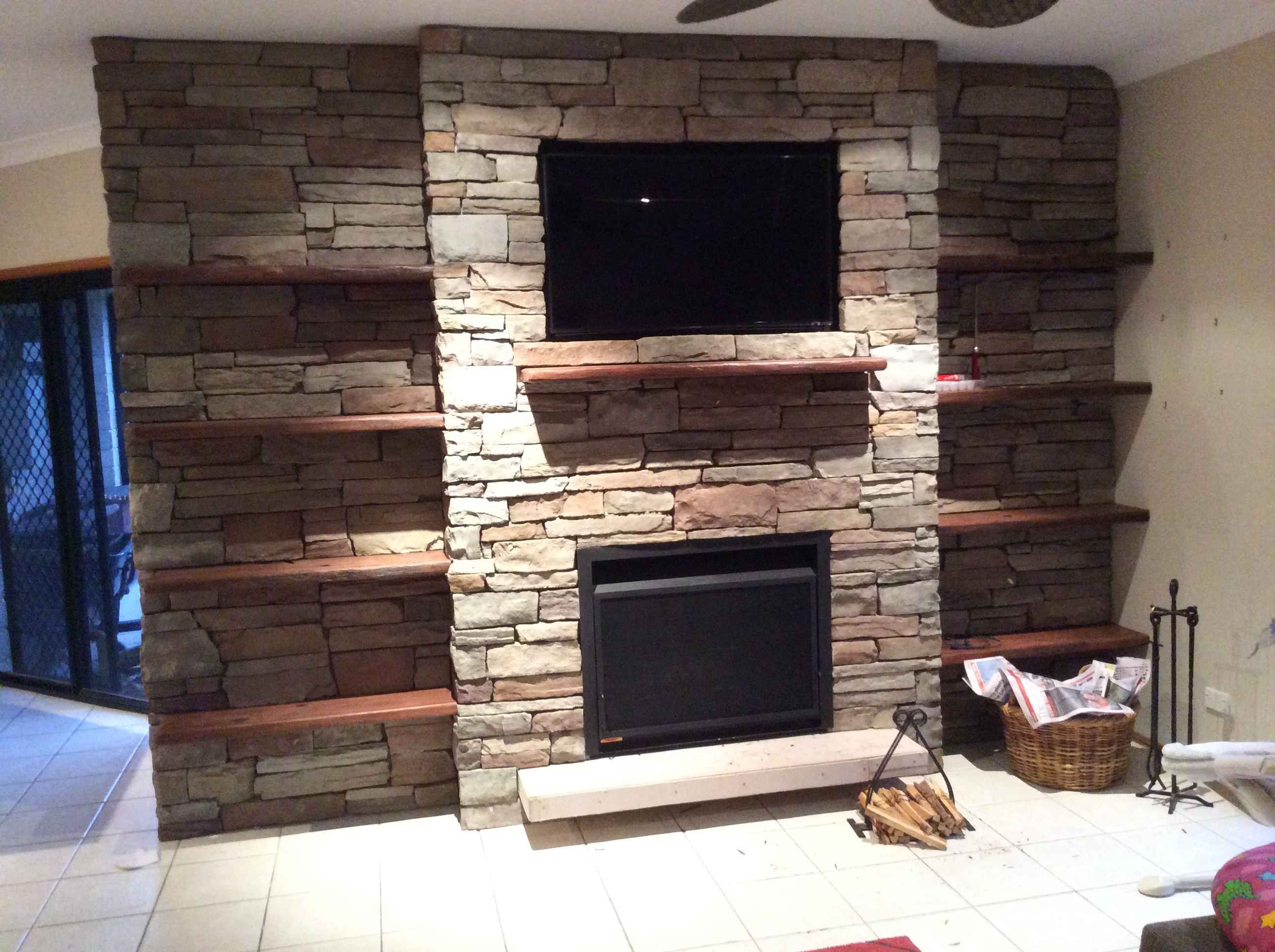 Stacked Ledgestone Projects Fireplace Feature Wall Fireplace Tv