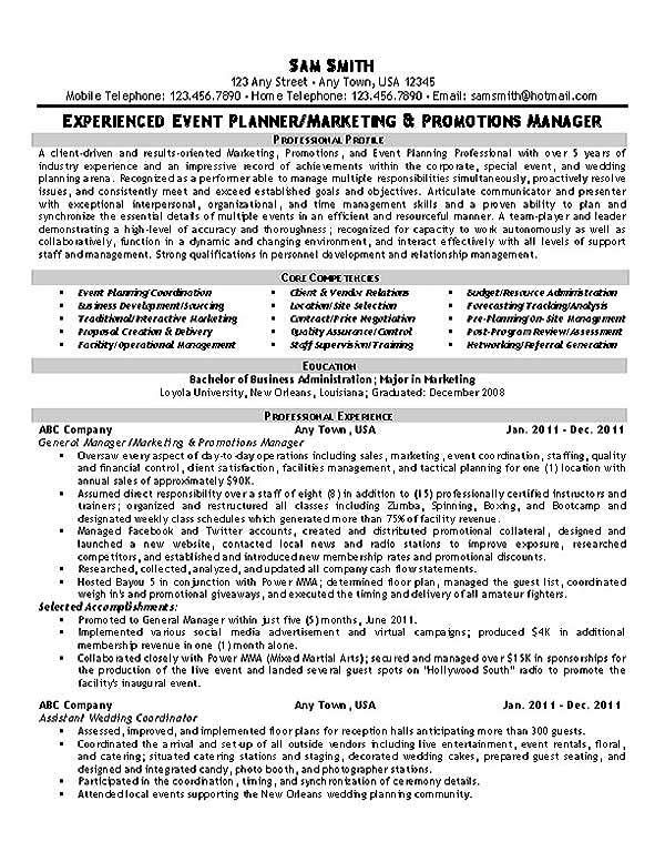 Event Planner Resume Example Resume examples, Planners and - event planning certificate