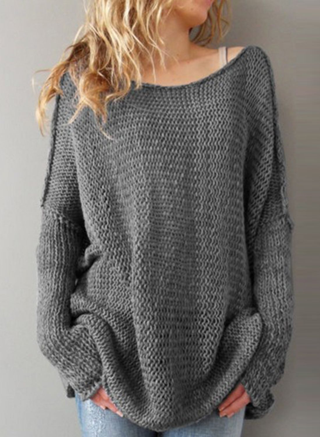 Women's Solid Color Dropped Shoulder Loose Fit Pullover Sweater ...