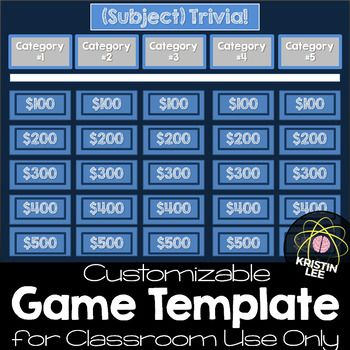 Trivia Game Template  For Classroom Use Only  Trivia Games