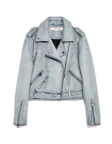 1310ed22f Cruiize Women s Casual Zip Splice Suede Slim Cool Coat Motorcycle ...