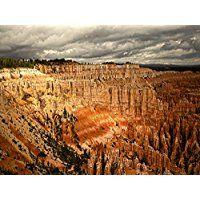 Artland Echt-Glas-Wandbild Deco Glass Andrea Potratz Lichtspiele im Bryce Canyon Landschaften Amerika Fotografie Orange 60 x 80 x 1,1 cm