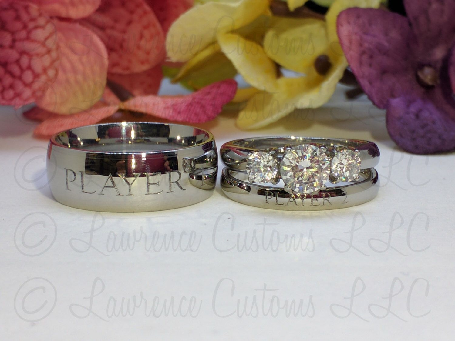 Player 1 Player 2 Couples Ring set High Shine 316L Stainless Steel