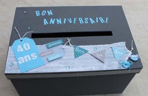 Urne Pour Un Anniversaire En Gris Et Bleu Boite Cadeau