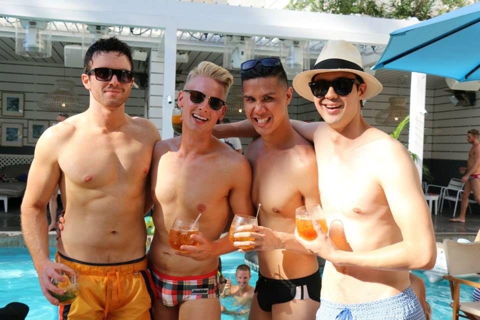pool Men bikini public
