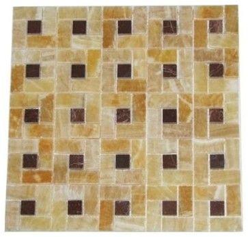 1 in. x 2 in. Honey Polished Pinwheel Pattern Mesh-Mounted Onyx Mosaic Tile 3/8 - modern - floor tiles - Mosaictiledirect
